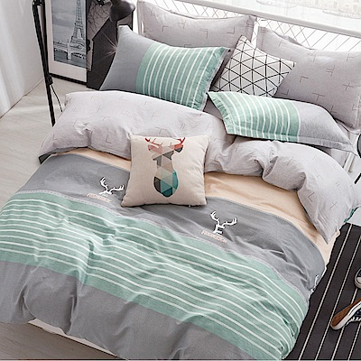 La Lune 台灣製100%精梳棉新式兩用被雙人加大床包五件組 原味北歐