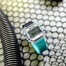 I AM 電子液晶 繽紛色彩 錶帶自由搭配 矽膠手錶-灰x透明x藍/38mm