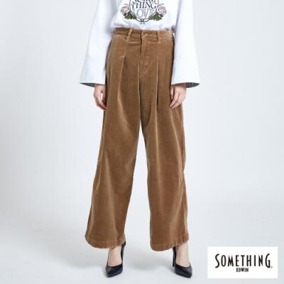 SOMETHING 打摺條絨寬褲-女-黃褐色