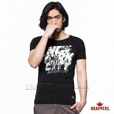 BRAPPERS 男款 街頭個性印花圓領短袖T恤-黑