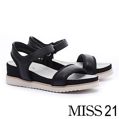 涼鞋 MISS 21 簡約率性一字造型牛皮厚底休閒涼鞋-黑