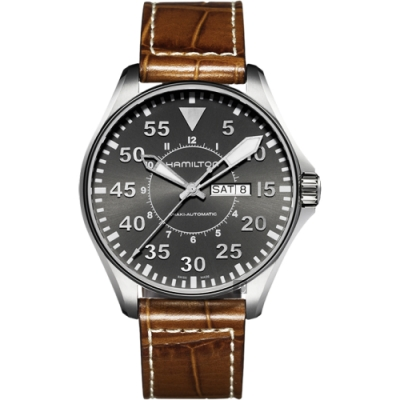 Hamilton 漢米爾頓 Khaki Aviation卡其飛行機械錶-灰x咖啡/46mm