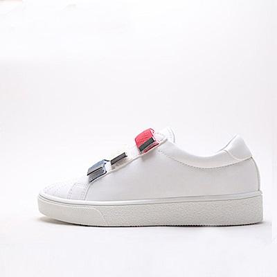 【AIRKOREA韓國空運】時尚紅藍白運動風魔鬼氈休閒鞋