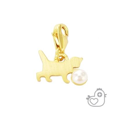 【彩糖鑽工坊】彩糖貝貝  淡水珍珠 貓咪墜子 閨蜜 彩糖貝貝系列