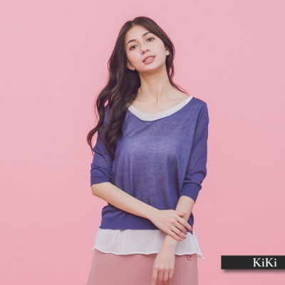 【KiKi】假兩件式拼接-針織衫(三色)
