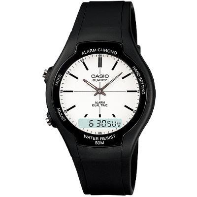 CASIO 都會個性型男雙顯錶-白面丁字刻度(AW-90H-7E)/32.5mm