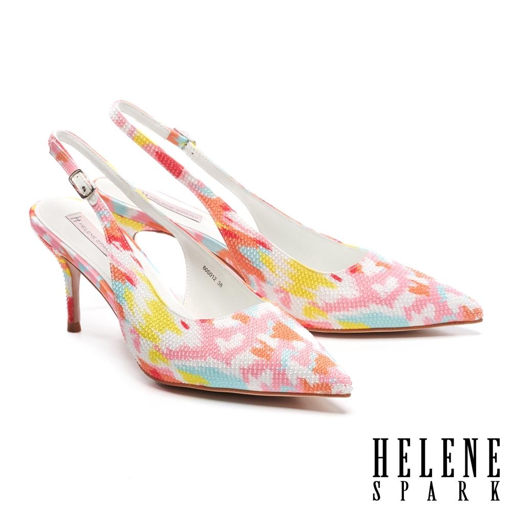 高跟鞋 HELENE SPARK 細緻晶鑽純色緞布後繫帶尖頭高跟鞋-桔
