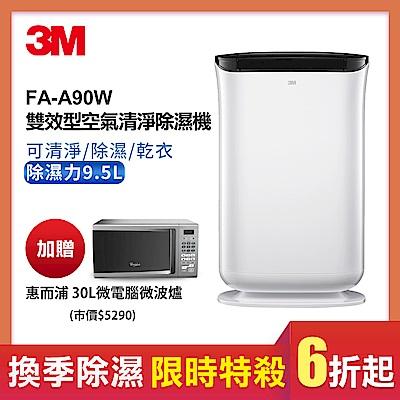 3M 9.5L雙效空氣清淨除濕機FD-A90W可清淨/除濕/乾衣(加贈30L微電腦微波爐)