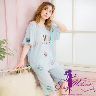 睡衣 大尺碼 英字零食插畫牛奶絲短袖二件式睡衣組(童趣藍) Sexy Meteor