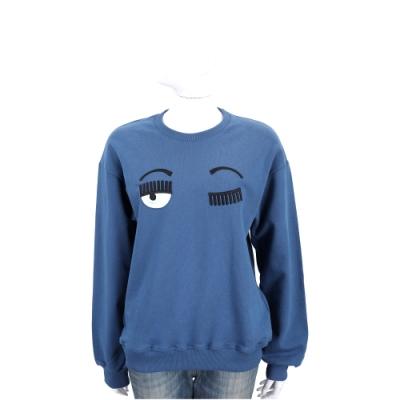 Chiara Ferragni Flirting 眨眼刺繡藍色大學T 運動衫