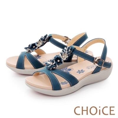 CHOiCE 嚴選牛皮花朵點綴厚底 女 涼鞋 藍色