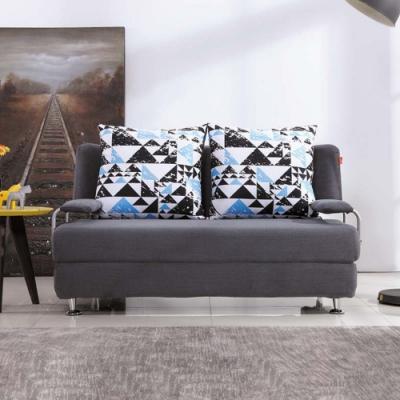Boden-艾華灰色布沙發床/雙人椅/二人座(送抱枕)