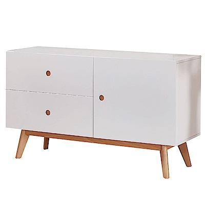 文創集 康納斯時尚白4尺單門二抽餐櫃/收納櫃-120x40x70cm免組