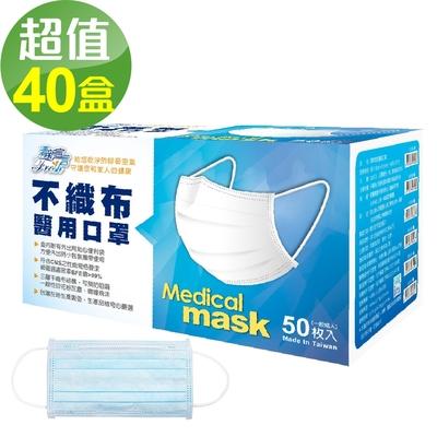 清新宣言 醫用口罩(未滅菌)-藍色(50片/盒x40盒組)箱售