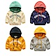 【Effect】兒童連帽保暖拼色加絨保暖連帽上衣(4色可選)
