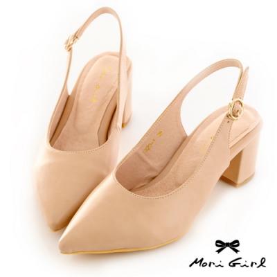 Mori girl復古微尖頭鞋後空中跟鞋 粉