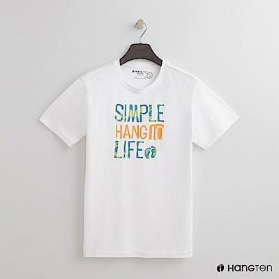 Hang Ten - 男裝 - 有機棉-簡單樂活圓領T恤 - 白