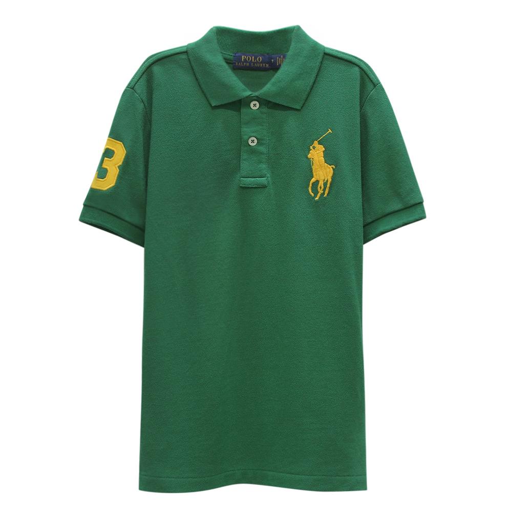 Ralph Lauren 大童刺繡數字3經典大馬短袖POLO衫-綠色(S/8歲)