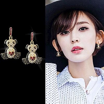 梨花HaNA 韓國925銀針俏皮小熊貓彩色水鑽耳環