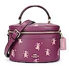 COACH PARTY 滿版老鼠圖案皮革手提/斜背兩用復古水桶小圓包-莓紫