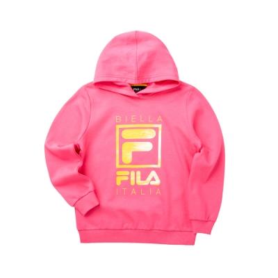 FILA KIDS 女童長袖附帽T恤-桃紅 5TET-8909-PC