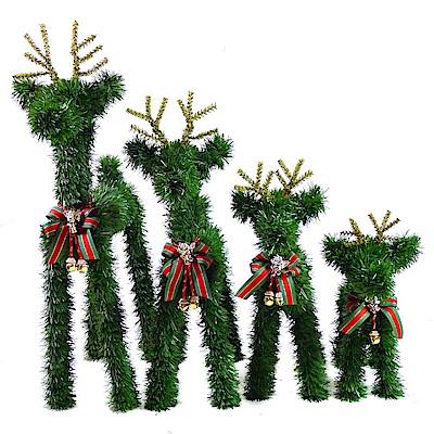 摩達客 可愛長腿聖誕小鹿家族擺飾 (四入組-12吋+16吋+20吋+24吋)