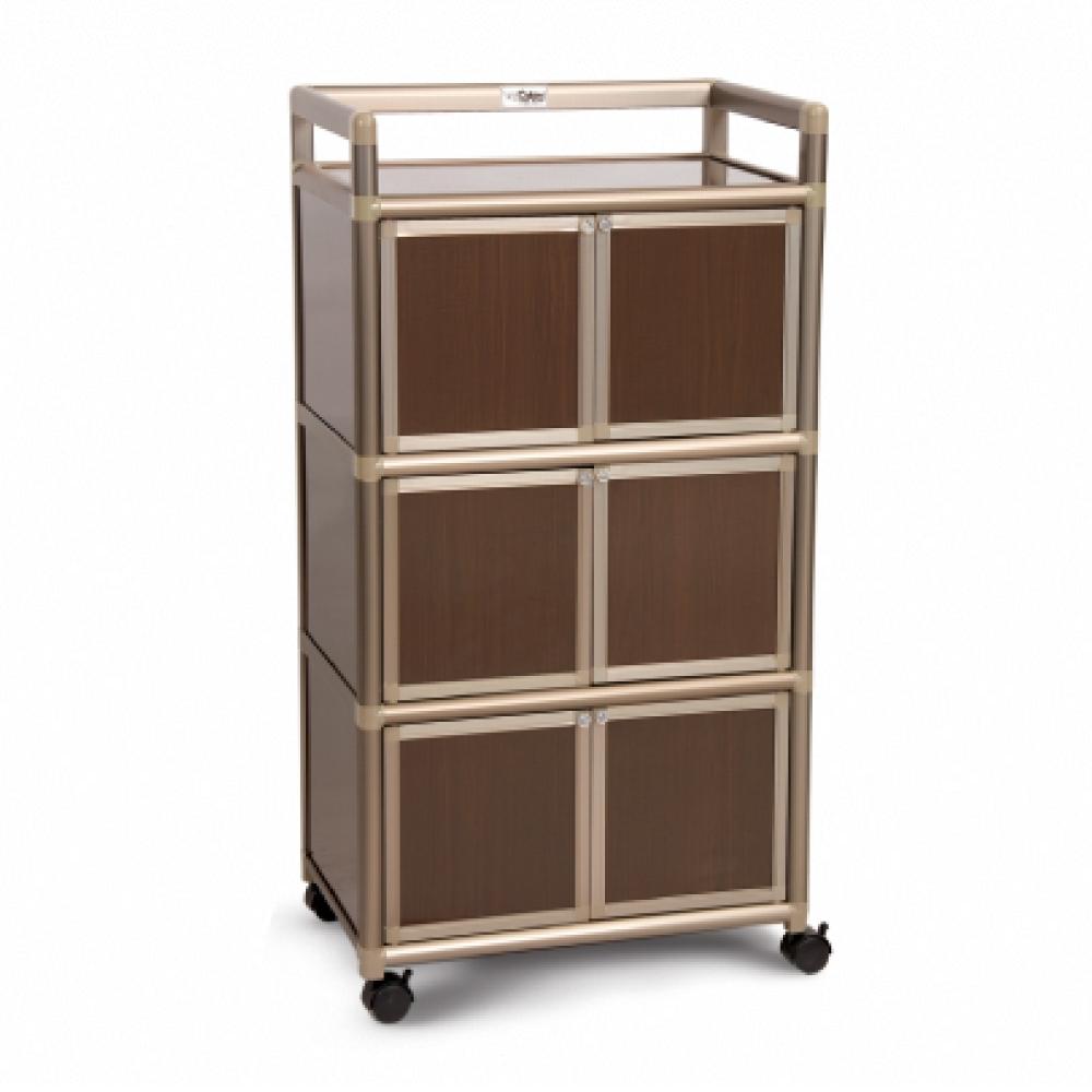 Cabini小飛象-黑桃木1.8尺鋁合金6門收納櫃60.4x41.1x115.3cm