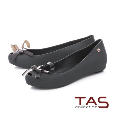 TAS蝴蝶花結金屬圓飾魚口娃娃鞋-百搭黑