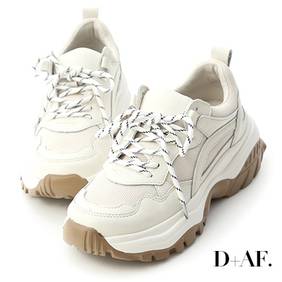 D+AF 潮流宣言.真皮撞色增高老爹鞋*米