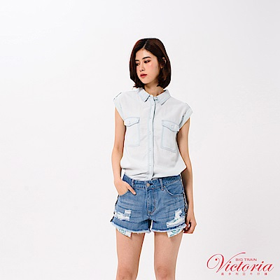 Victoria 雙口袋落肩短袖襯衫-女-淺藍