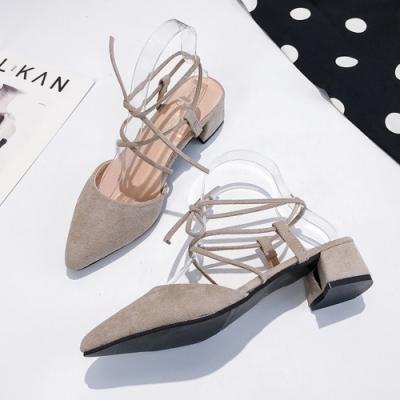 KEITH-WILL時尚鞋館 甜心活力時光羅馬風粗跟鞋 卡其