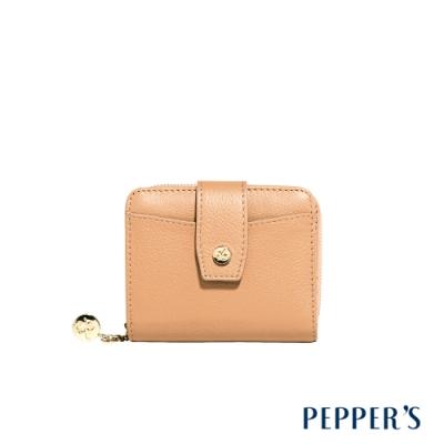 PEPPER S Doris 牛皮短夾 - 淺棕