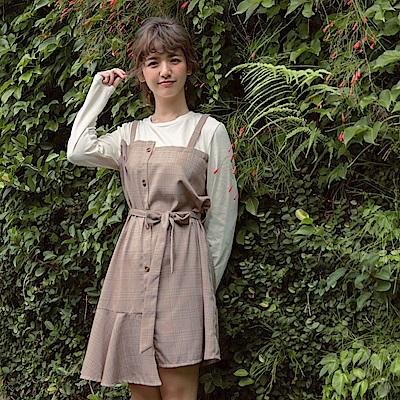 iMODA STAR-臧芮軒。附腰帶純色拼接格紋假兩件式洋裝