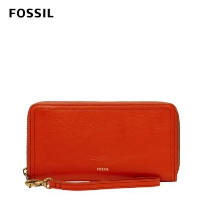 FOSSIL Logan 多層真皮拉鍊RFID防盜長夾-紅色 SL7831620