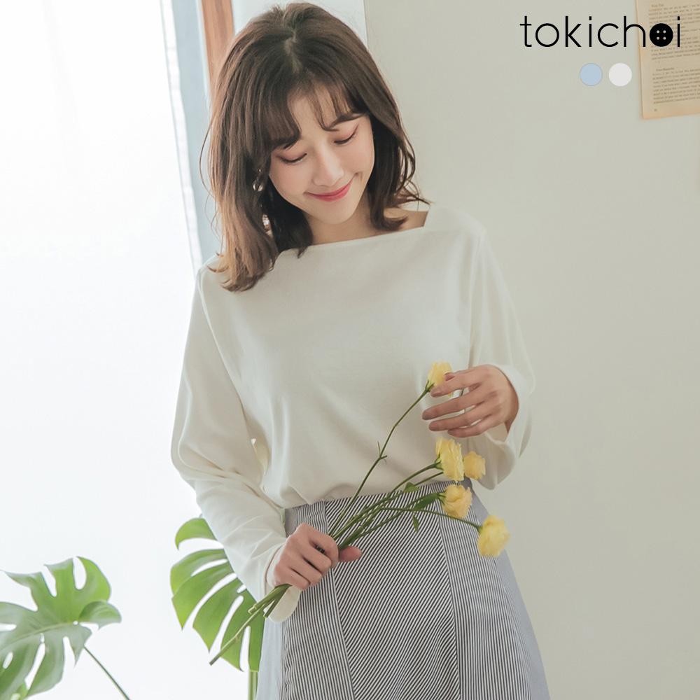 東京著衣-簡約休閒方形領棉質長袖上衣-S.M.L(共兩色)