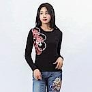 BIG TRAIN 菊花舞蝶長袖-女-黑