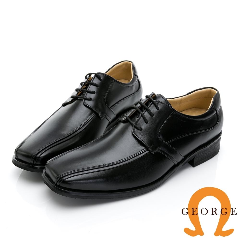 GEORGE 喬治皮鞋 尊爵系列 經典繫帶方頭核心氣墊鞋-黑