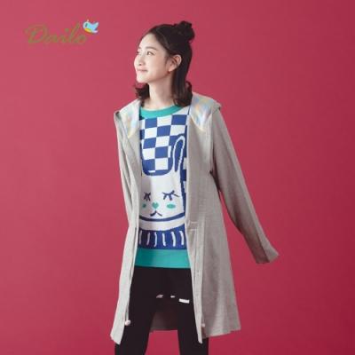 【Dailo】棉質長版連帽-外套(三色)