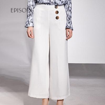 EPISODE - 時尚優雅顯瘦釦飾直筒寬褲