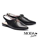 涼鞋 MODA Luxury 小清新簍空蝴蝶結設計羊皮尖頭低跟涼鞋鞋-黑