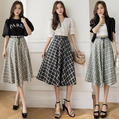 經典格紋半鬆緊腰半身中裙S-XL(共三色)-沐朵