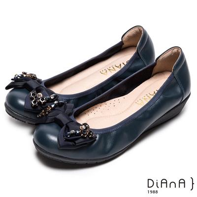 DIANA 鑲鑽結戀--亮皮鑲鑽蝴蝶結真皮娃娃鞋-深藍