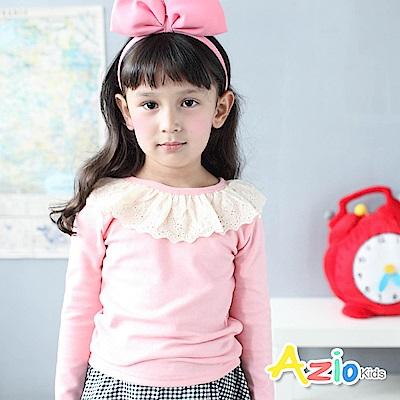 Azio Kids 上衣 蕾絲圓領後單釦棉質上衣(粉)