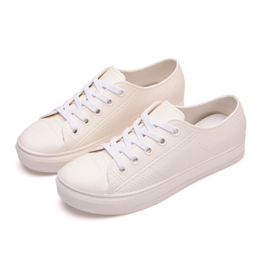 韓國KW美鞋館-異國渡假素色防水輕量仿帆布鞋小白鞋雨鞋 白
