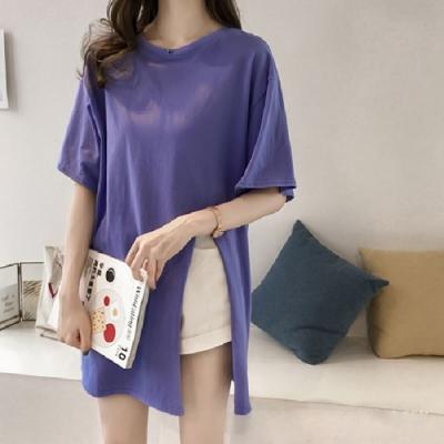 2F韓衣-簡約素色寬鬆開衩造型上衣-4色(M-2XL)