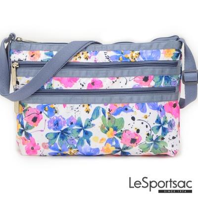 LeSportsac - Standard 橫式三層拉鍊斜背包 (花卉彩繪)
