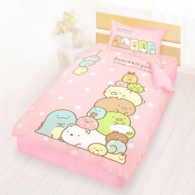 享夢城堡 單人床包雙人涼被三件組-角落小夥伴 夾夾樂-粉橘.藍綠