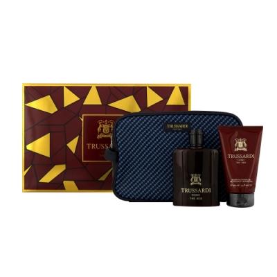 TRUSSARDI 尊爵紅男性淡香水禮盒 (香水100ml+沐浴組100ml+包包)