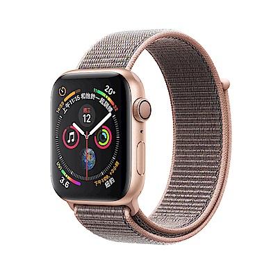 AppleWatch S4 LTE 44mm金色鋁金屬錶殼搭配粉沙色運動型錶環