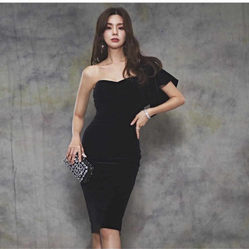 IMStyle 性感絲絨單肩晚宴洋裝晚禮服(黑色/紅色)